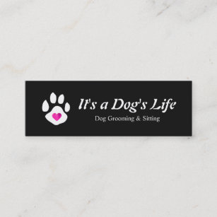 Dog grooming business cards zazzle dog heart paw pet sitting and grooming mini business card colourmoves