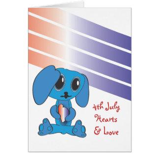 Dog Hearts 4th of July Card