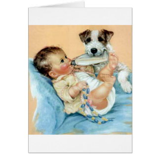 dog helping baby cards