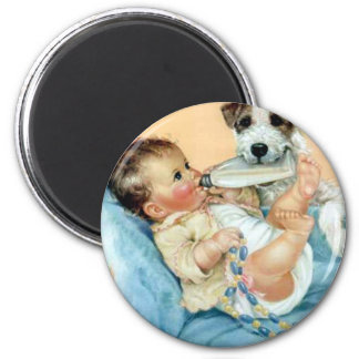 dog helping baby magnet
