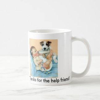 dog helping baby classic white coffee mug