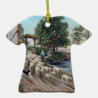 Dog Herding Sheep Down Path Christmas Ornament