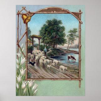 Dog Herding Sheep Down Path Poster