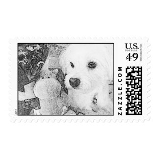 Dog & Hippo Postage Stamps (B&W)