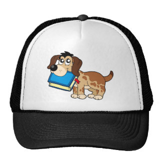 Dog holding book mesh hat