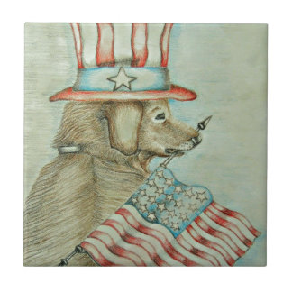 dog holding flag ceramic tile
