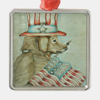 dog holding flag metal ornament
