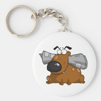 Dog-holds-newspaper-in-mouth Basic Round Button Keychain