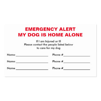 Dog Home Alone Emergency Contact Card