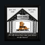 """Dog House Pet Memorial Keepsake Box<br><div class=""""desc"""">In Loving Memory of your dog. A beautiful keepsake box to store dog tags and other small items in memory of your passing friend.   Click on &quot;customize it&quot; to change font colors and to re-size your photo.  MORE DOG MEMORIAL Gift Boxes -</div>"""