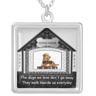 Dog House Pet Memorial Square Pendant Necklace