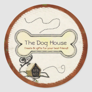 Dog House PET TREATS GIFTS BUSINESS Classic Round Sticker