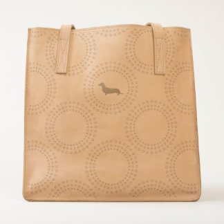 Dog Icon and Dot Circles Pattern | Dachshund Lover Tote