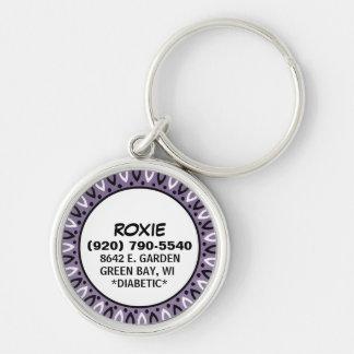 Dog ID Tag -  Bandana Border - Dusty Purple Key Chains