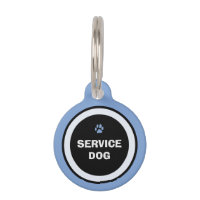 Dog ID Tag - Blue & Black- Service Dog