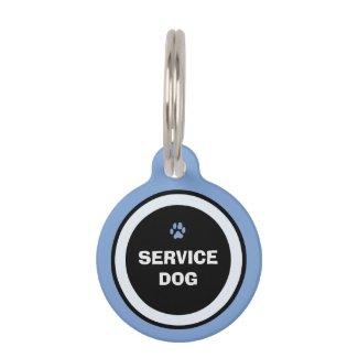 Dog ID Tag - Blue & Black- Service Dog