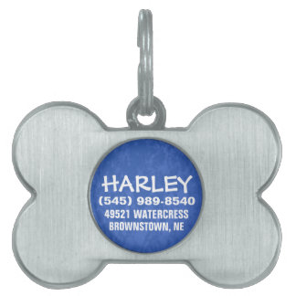 Dog ID Tag - Blue For Small Dog Pet Name Tags