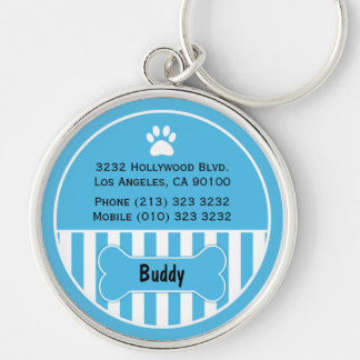Dog ID Tag Blue Keychain