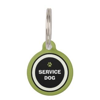 Dog ID Tag - Green & Black- Service Dog