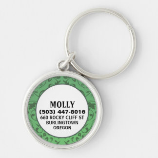 Dog ID Tag - Green Vintage Design Silver-Colored Round Keychain
