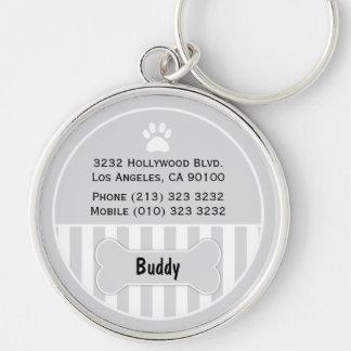 Dog ID Tag Grey Keychain