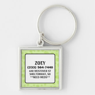 Dog ID Tag - Light Green - Square Silver-Colored Square Keychain