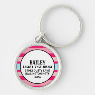 Dog ID Tag - Magenta & Blue Horizontal Stripes Silver-Colored Round Keychain