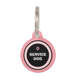 Dog ID Tag - Pink & Black - Service Dog
