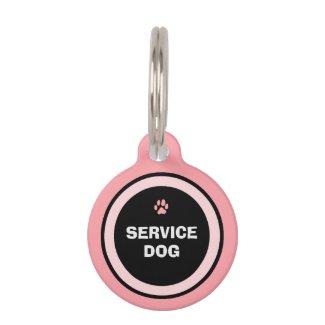 Dog ID Tag - Pink & Black - Service Dog