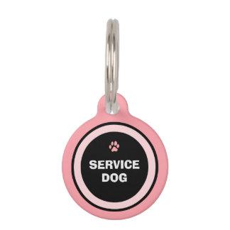 Dog ID Tag - Pink & Black - Service Dog Pet Nametag