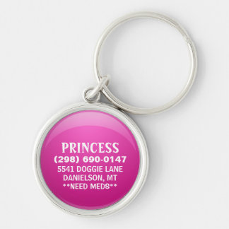 Dog ID Tag - Pink Gloss Key Chains