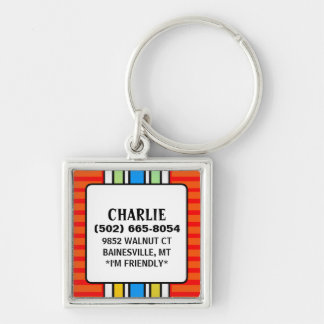 Dog ID Tag - Red with Vertical Stripes - Square Silver-Colored Square Keychain