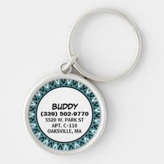 Dog ID Tag - Teal Bandana Border Keychains