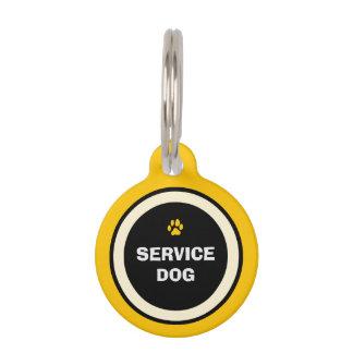Dog ID Tag - Yellow & Black- Service Dog