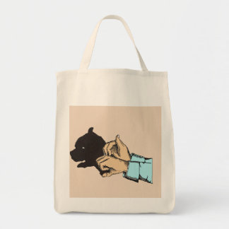 Dog Image Created With Hand Art On Tote Bag