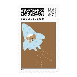 Dog in a Rocket Ship Postage Stamp