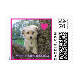 dog in a tree felton, big heart, Happy Holidays! Postage
