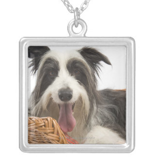 Dog in basket 2 silver plated necklace