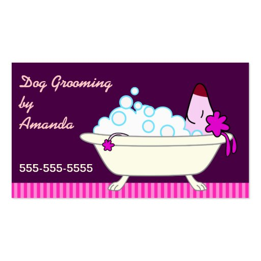 Dog in Bathtub - Pet Groomer Business Cards