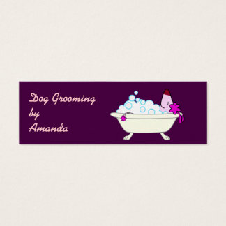 Dog in Bathtub - Pet Groomer Mini Business Card