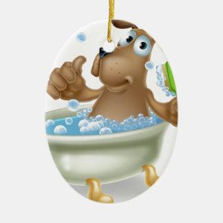 Dog in bubble bath cartoon ceramic ornament