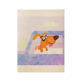 Dog in car : Vintage poster art / Blue