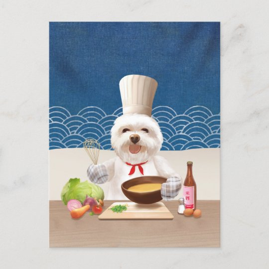 Dog In Chef Hat Cooks Soup Announcement Postcard