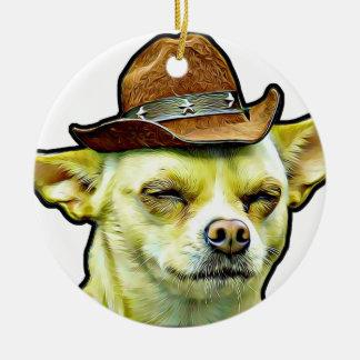 Dog in cow boy style ceramic ornament