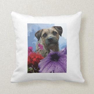 Dog in flower throw pillows