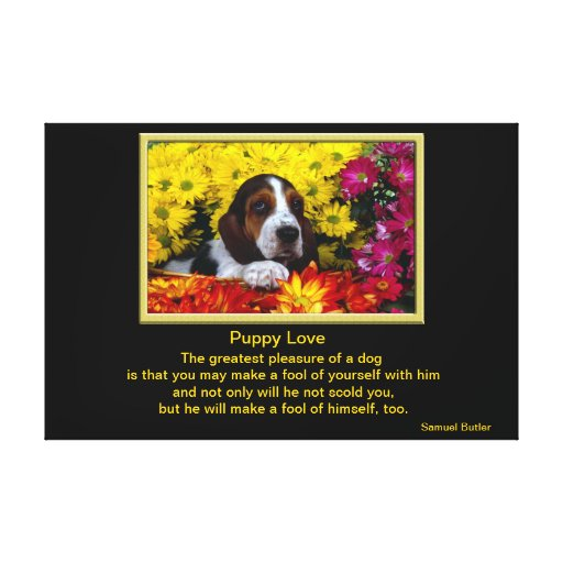 Dog in Flowers Stretched Canvas Print