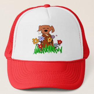 Dog In Garden Dog Lover Trucker Hat
