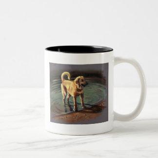 DOG IN LAKE: PASTEL ART: COFFEE MUGS