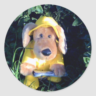 dog in raincoat classic round sticker