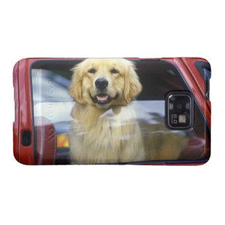 Dog in red car window samsung galaxy s case